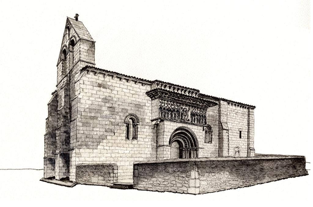 Iglesia románica de Moarves (dibujo de Juan Carlos Prieto)