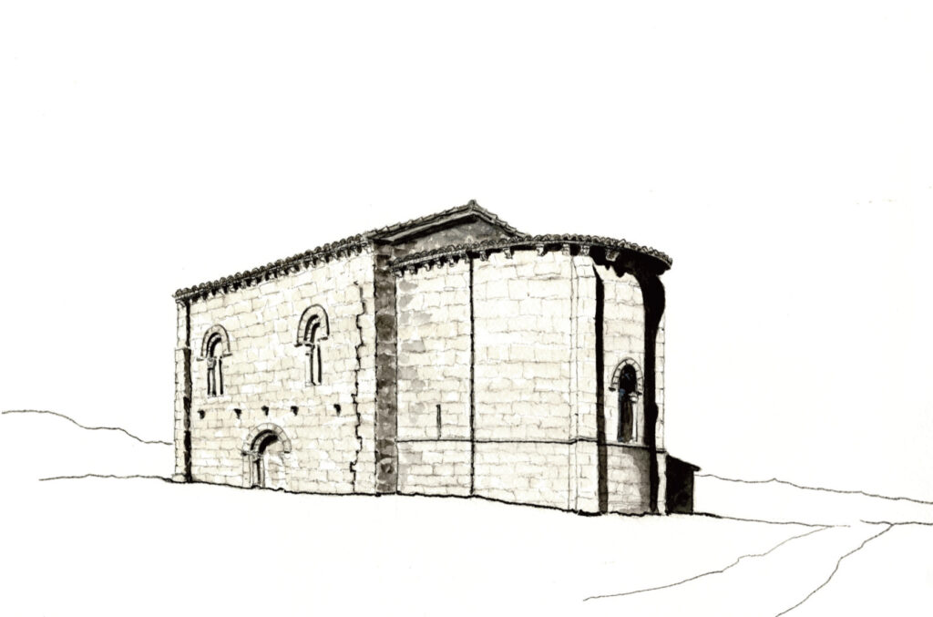 Iglesia románica de Matalbaniega (dibujo de Juan Carlos Prieto)
